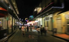 Bourbon Street Excitement (chantsign) Tags: street light walking movement looking neworleans watching nighttime frenchquarter softfocus bourbonstreet nite