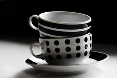 cups (Lalas.Photography) Tags: two blackandwhite white black art coffee vintage tea dotted cups dots striped stipes blacknwhhithe