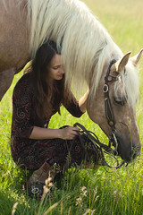 Sylwia (lucrecia lee) Tags: summer portrait horse colour green girl beautiful beauty grass colourful youngwoman mane