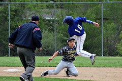ACROBATIC OUT (MIKECNY) Tags: out baseball highschool lasalle leap umpire cohoes secondbase