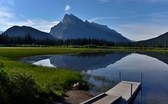 Vermillion lakes and Mt Rundle (Robert Ron Grove 2) Tags: morning mountain lake canada reflection dock banff rundle robertgrove