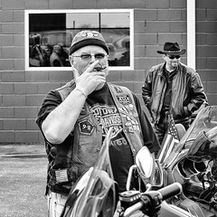 Cohiba (Oliver Leveritt) Tags: blackandwhite monochrome man motorcyclist biker cigar cohiba nikond60 candid oliverleverittphotography afsdxvrnikkor55200mmf456gifed