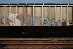 STELO TARS (TheGraffitiHunters) Tags: street blue red white art train graffiti colorful paint gray tracks spray hopper ts freight tars selo stelo benched benching