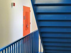 Stairs (duaneschermerhorn) Tags: door blue orange metal stairs steps minimal stairway simple minimalistic