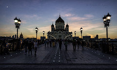 Bridge to temple (Lyutik966) Tags: street city bridge light sunset people architecture temple design construction christ russia moscow dome lantern savior patriarshy