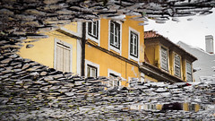 Reflections - Lisbon, Portugal (Sebastian Bayer) Tags: city trip houses windows vacation house reflection building portugal wet water rain buildings puddle floor lisboa lisbon fenster urlaub perspective creative haus olympus cobblestone pointofview stadt lissabon spiegelung regen omd reflektion pflaster frhling boden huser nass pftze blickpunkt 124028 omdem5ii