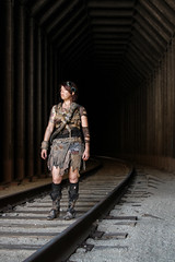 (No Stone Unturned Photography) Tags: railroad trestle woman abandoned girl train costume post cosplay tracks tunnel trains apocalyptic wastelands urbex