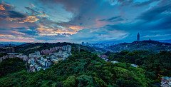 Sunset After Shower  (Sharleen Chao) Tags: longexposure sunset urban panorama horizontal skyline canon landscape cityscape cloudy taiwan nopeople 101  taipei taipei101  hdr afterglow 101 capitalcity 1635mm anticrepuscularrays   cloudfire canoneos5dmarkiii