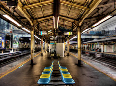 Japanese Railway Station (DILLEmma Photography) Tags: travel blur west art home beautiful look station sign japan composition speed train photoshop wow wonderful photography tokyo photo insane amazing nice fantastic blurry hp waiting exposure alone view image artistic top empty sony south awesome touch great north style railway blurred best line east special divine professional adventure direction seats processing stunning wait sight unreal seating capture incredible effect technique f828 bizarre hdr extraordinary impressive marvelous timeless exciting gaussian sides astonishing staggering thrilling stlye