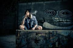 Sara Bee / 2 (Symo0) Tags: portrait woman canon graffiti cigarette smoke flash naturallight tattoos f28 2470l nissin 550d di866