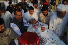 ANP candidate Syed Masoom Shah carried to the hospital after an Apr. 14 bomb attack in Charsadda, a town in Khyber Pakhtunkhwa province, that injured four people. Credit: Ashfaq Yusufzai/IPS (IPS Inter Press Service) Tags: pakistan anp terrorism taliban elections bombattack charsadda syedmasoomshah