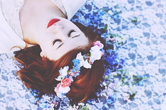 perchance to dream. (oliviaewalthall) Tags: portrait floral beautiful spring whimsy lace feminine shakespeare redhead crown maiden whimsical