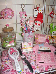 My Melody Cuteness (Suki Melody) Tags: hello pink cute rabbit bunny glass pencils hair chains key calendar character watch picture kitty brush sanrio collection melody frame kawaii calculator jar accessories pens figures folder pouches keychains mymelody