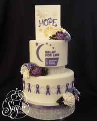 Relay For Life cake (RebeccaSutterby) Tags: life flowers for purple cancer fundraiser relay gumpaste americancancersociety