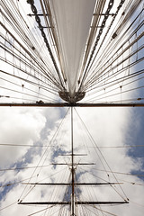 Up the main and foremasts | Cutty Sark - 14 (Paulo Dykes) Tags: uk yards england london clyde ship greenwich wideangle cuttysark masts nationalmaritimemuseum rigging clipper sailingship 1869 teaclipper shrouds ratlines foremast mainmast copperbottomed jockwillis