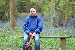 One man and his dog (PollyG69) Tags: bluebells bench woods borderterrier hartshillhayes