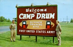 Camp Drum Summer Training Site, Watertown NY (SwellMap) Tags: road signs monument public sign vintage advertising design 60s highway gate arch fifties message postcard suburbia entrance style kitsch retro billboard route nostalgia chrome freeway gateway billboards americana 50s lettering welcome roadside populuxe sixties babyboomer consumer coldwar midcentury spaceage atomicage archwaypc
