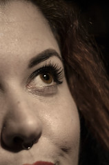 Beauty In The Eye (systolic_thrill) Tags: portrait eye canon hair lens nose eos 50mm prime eyelashes cheek skin makeup piercing eyebrow hazeleyes nosering f18 septum 400d