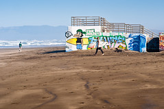 Surf Imitating Art (CarbonNYC) Tags: sf sanfrancisco man beach water surf surfer oceanbeach