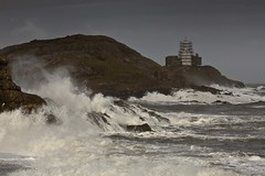 Waves crashing at Mumbles Lighthouse (Jo Evans1) Tags: lighthouse force very may 9 gale mumbles rough winds seas