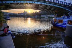 ~ Czech Prague ,  Vltava (Moldau) ~ (PS~~) Tags: city travel bridge trees light sunset shadow sky sun reflection tower castle church water night clouds port canon river reading lights pier boat europe ship afternoon nocturnal czech prague dusk hill prag praha tschechien unesco worldheritagesite most  czechrepublic rays bluehour charlesbridge vltava hdr pleasure hradcany riverview pinkclouds riparian ceskarepublika karluvmost karluv praguecastle republika  blauestunde moldau malastrana   ceska landscapephotography colortemperature   kleinseite    karlsbrucke  dcdead goldenpraha  openchat