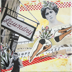 Laundry (itsme design) Tags: original newyork schilder sport collage japan lady illustration neon assemblage kunst retro frau diva vogel fliegen maskingtape kopf kleben schwarzweis