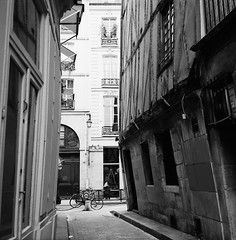 Window Shopping (Purple Field) Tags: street bw paris france 120 6x6 tlr film monochrome analog rolleiflex square alley kodak trix 400tx medium   f28  schneider kreuznach 80mm    28f  xenotar        stphotographia x