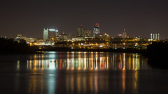 Kansas City by Night II (Denzil Burriss) Tags: city longexposure reflection skyline night canon river landscape cityscape may kansascity kansas kc dslr currents kck kawpoint 2013 kawpointpark 5d3 5dmarkiii 5diii