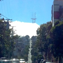 Mission District View of Sutro Tower Through Fog (Lynn Friedman) Tags: road west fog hills wires missiondistrict telephonepoles sutrotower 94110 lynnfriedman diamondhights