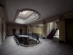 Lighting the Darkness (Subversive Photography) Tags: shadow panorama house abandoned architecture stairs mirror exposure gallery decay fine atmosphere urbanexploration ornate chateau manor subversive derelict hdr urbex grandeur lightwell 17mmtse danielbarter chateaulumiere