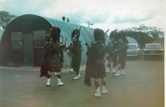 Pipers at Vauxhall Camp (siaronj) Tags: army hut monmouth bagpipes kilts scots pipers vauxhall romney