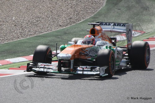 Paul Di Resta in Free Practice 3 for the 2013 Spanish Grand Prix