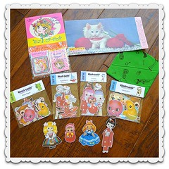 Gifts from a sweet friend (DollyBeMine) Tags: cute eye girl japan set vintage pose paper toys japanese big eyes mod kitten doll hand stickers kitsch mini pins rubber magnets squeeze collection made card gift bradley kawaii letter collectible cloth squeak squeaky poseable runenaito shop66