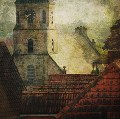 hours (silviaON) Tags: clock church evening may steeple roofs textured badbentheim 2013 kerstinfrankart isabellafranceaction