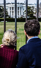 Looking from the Outside In (SamHardgrove) Tags: from woman white house man color america photoshop out outside dc couple looking bokeh gates district united president 4 clarity columbia states staring obama starring muted blown lightroom barack cs6