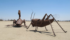 Grasshopper and Scorpion (Batty aka Photobat) Tags: ca art desert metalsculpture borregosprings galletameadows ricardobrecedasculptures may2013 deserttrekmay2013