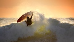 Sunlit Surf (McSnowHammer) Tags: sunset sun france beach la action surfer wave hossegor surfing spray surfboard splash graviere