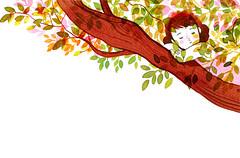 Ana Mara y la caja mgica (vandis) Tags: tree girl watercolor libertad freedom woods branch nia bosque acuarela anamaramatute