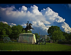 Political Storms bursts over Washington, DC (Sam Antonio Photography) Tags: usa storm flower monument statue horizontal architecture clouds fence outdoors washingtondc districtofcolumbia day cityscape politics obelisk cannon andrewjackson irs lafayettepark cloudscape nationalmonument neoclassical springtime lafayettesquare revival inclementweather internalrevenueservice trav