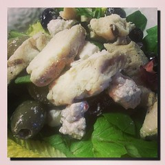 #Greek #Salad with #Grilled #Chicken... #Olives #Black #Green #Feta #Cheese (his 2.0) Tags: square squareformat iphoneography instagramapp uploaded:by=instagram