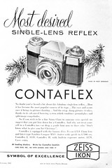 most desired (Riex) Tags: camera blackandwhite bw film zeiss magazine photography photographie noiretblanc ad journal january advertisement page 1957 ikon ilford publication publicite panf carlzeiss contaflex tessar iso50 appareilphoto modernphotography