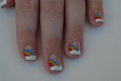 Rainbow (Blog Juliana S) Tags: glitter blog rainbow arcoris unhas nailart risqu esmalte colorama