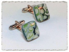 Green/White square cufflinks