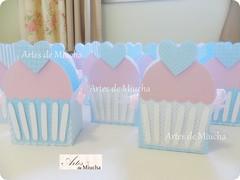 Azul e rosa.... (Artes de Miucha com papel) Tags: scrapbook paper craft cupcake coração papel festa decoração chá caixinha lembrancinha centrodemesa