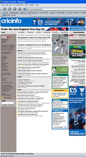 A 2004 Wisden Cricinfo homepage