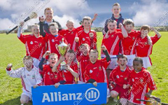 St Stephen's celebrate after winning their Allianz Eastern U11 Roinn A Group 2 hurling final aganist Scoil Lorcáin