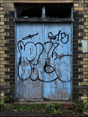Pickles (Alex Ellison) Tags: door urban abandoned graffiti factory warehouse pickles exploration derelict pik throwup urbex northlondon throwie