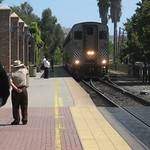 San Juan Capistrano - Amtrac arriving backward (engine at the rear) from San Diego 5-15-2013 - THE LOCOMOTIVE IS AT THE REAR OF THE TRAIN when it's going north to LA thumbnail