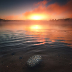 Smoke Clouds (Jack Wassell) Tags: morning light sunset sun mist lake color water beautiful rock fog sunrise reflections square pretty connecticut wideangle ripples squarecrop jackwassell