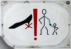High Heels & Green Sleeves (Goran Patlejch) Tags: man sign warning shoe boat holding highheels child hand arms prague no praha praga parent pictogram prohibited exclamationmark patlejch gntx goenetix patlejh